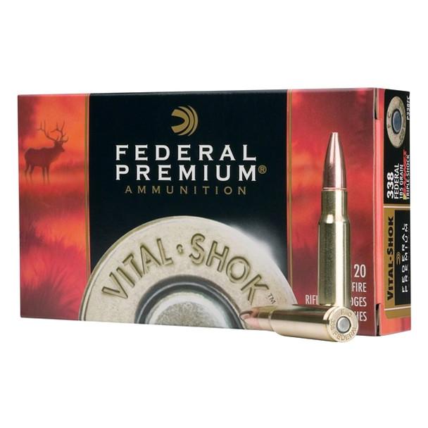 FEDERAL Vital-Shok 338 Win. Mag 250 Grain Nosler Partition Ammo, 20 Round Box (P338B2)