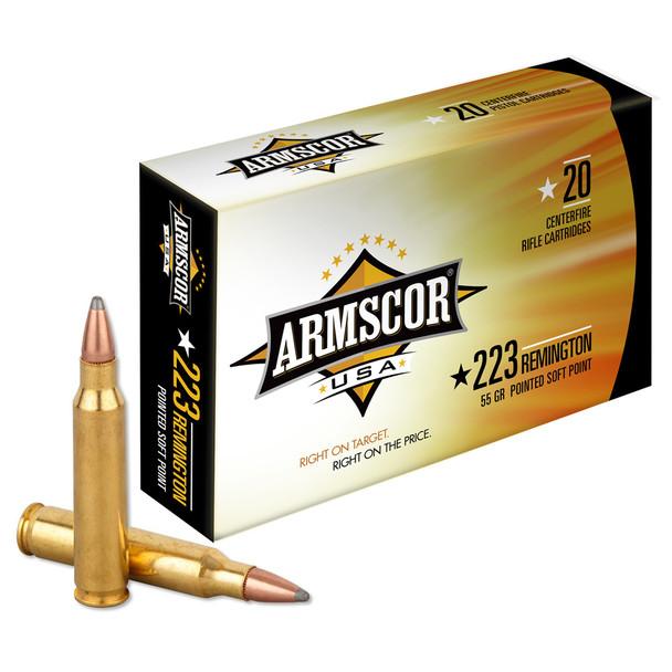 ARMSCOR 223 Rem 55 Grain PSP 20rd Box Rifle Ammo (AC223-2N)