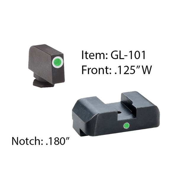 AMERIGLO Glock Tritium I-Dot 2 Dot Green with White Outline Sight (GL-101)