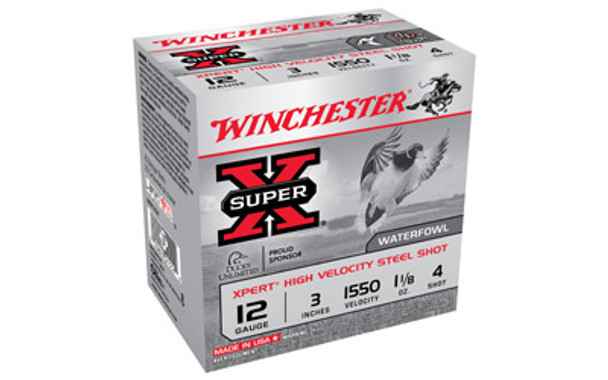 WINCHESTER Xpert HI-Velocity Steel 12Ga 3in #4 Shotshell Ammo 25 Round Box (WEX1234)