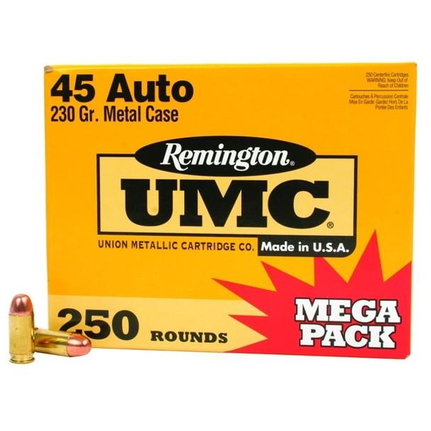 REMINGTON UMC 45 ACP 230 Grain FMJ Ammo, 250 Round Box (L45AP4A)