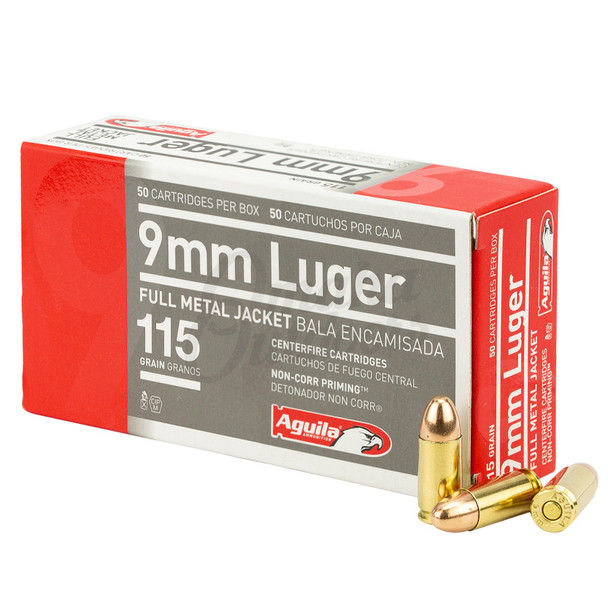 AGUILA 9mm 115gr FMJ 50rd Box Ammunition (1E097704)