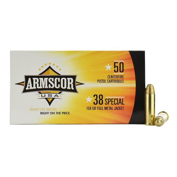 ARMSCOR  38 Special 158 Grain FMJ 50rd Box Pistol Ammo (FAC38-17N)