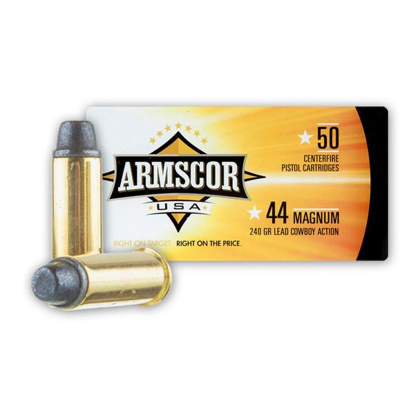 ARMSCOR 44 Mag 240 Grain SWC 50rd Box Pistol Ammo (FAC44M-1N)