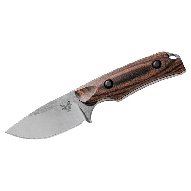 BENCHMADE Hidden Canyon Hunter Wood Handle Modified Clip Point Fixed Blade Knife (15016-2)
