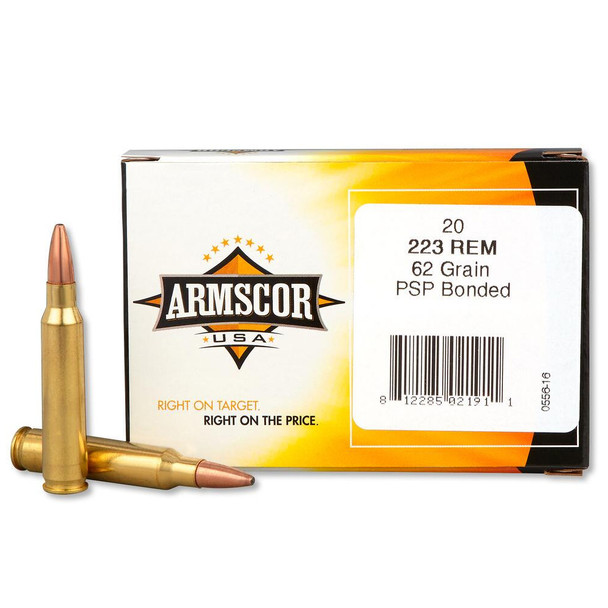 ARMSCOR 223 Remington 62Gr Bonded PSP 20Rd Box Ammo (AC223-4N)