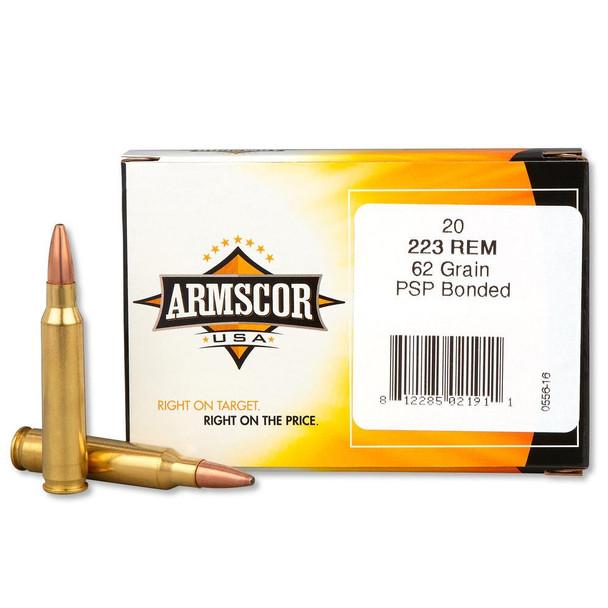 ARMSCOR 223 Remington 62Gr Bonded PSP 20Rd Box Ammo (AC223-4N)