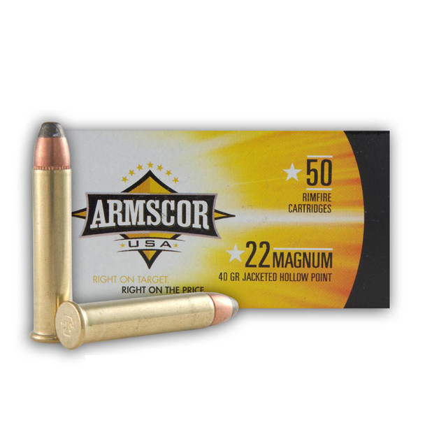 ARMSCOR Jacketed Hollow Point 40 Grain 22 Win. Mag Ammo, 50 Round Box (FAC22M-1N)