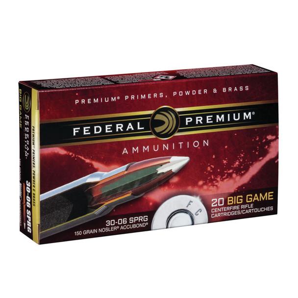FEDERAL Premium .30-06 Springfield 150Gr Nosler AccuBond 20rd Box Rifle Ammo (P3006A3)