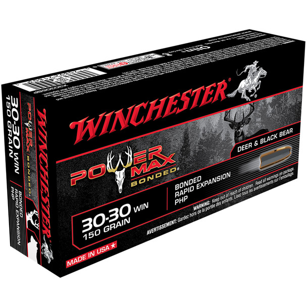 WINCHESTER Power Max Bonded 30-30 150Gr Hollow Point 20rd Box Rifle Bullets (X30306BP)