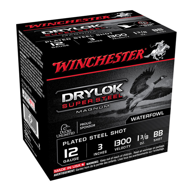 WINCHESTER DryLok Super Steel 12Ga 1-3/8oz 3in BB 25rd Box Shotshells (XSM123BB)