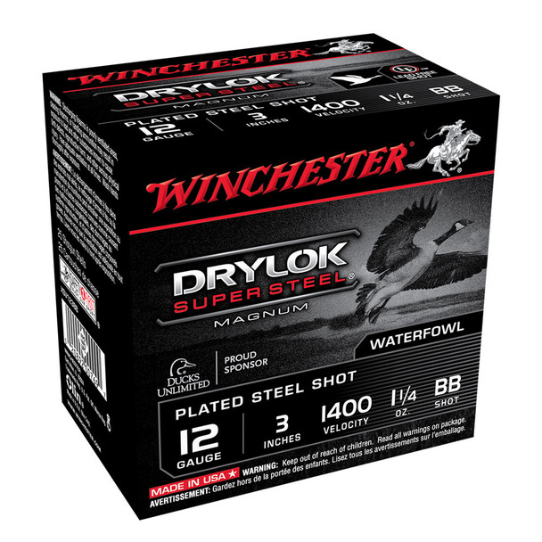 WINCHESTER DryLok Super Steel 12Ga 1-1/4oz 3in BB 25rd Box Shotshells (XSV123BB)