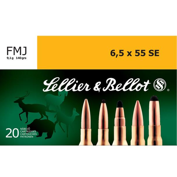 SELLIER & BELLOT 6.5x55mmSE 140 Grain FMJ Ammo, 20 Round Box (SB6555C)