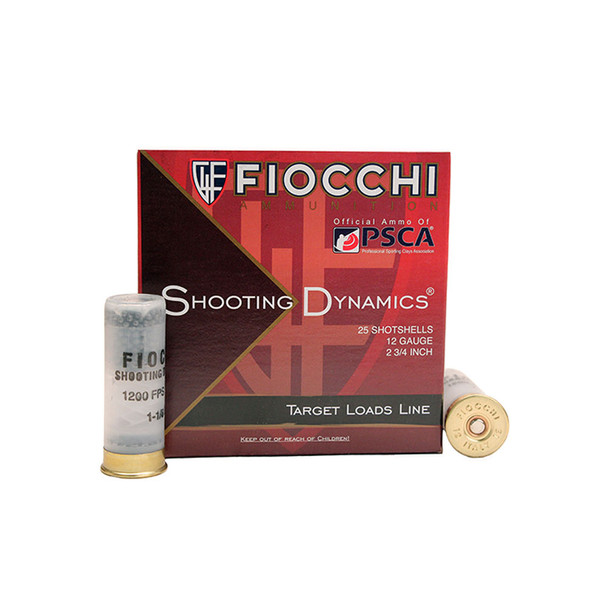 FIOCCHI Shooting Dynamics 12 Gauge 2.75in #8 Ammo, 25 Round Box (12SD18H8)