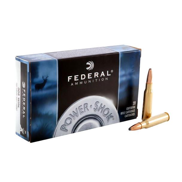FEDERAL Power-Shok 308 Win. 180 Grain Soft Point Ammo, 20 Round Box (308B)