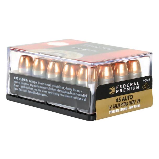 FEDERAL Premium Personal Defense 45 ACP 165 Grain Hydra-Shok JHP Ammo, 20 Round Box (PD45HS3H)