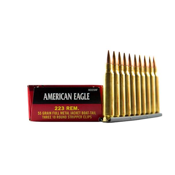FEDERAL American Eagle 223 Rem. 55 Grain FMJ Ammo, 30 Round Box (AE223AF)