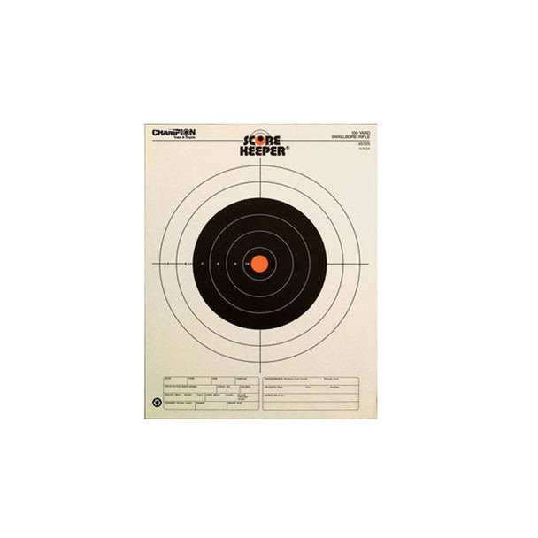 CHAMPION TRAPS & TARGETS Orange Bullseye 100yd Smallbore Rifle Scorekeeper Target 12-Pack (45725)