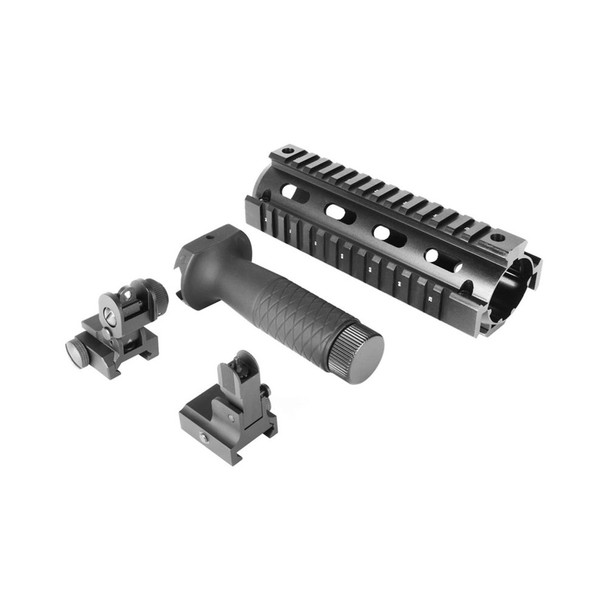 AIM SPORTS AR/M4 V1 Quad Rail, Vertical Grip, Front/Rear Flip Up Sights Combo Kit (ACAR01)