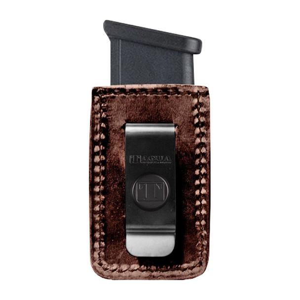 TAGUA GUN LEATHER Texas Clip On Single Glock 9mm Brown Magazine Carrier (TX-CO-MC5-023)