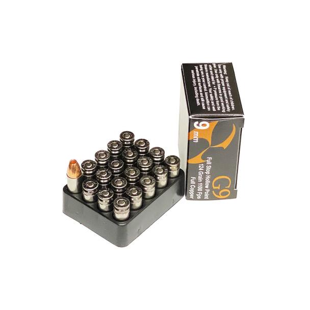G9 AMMO 9mm Full Stop Hollow Point 124 Grain Handgun Ammo (9MM-HP-124)