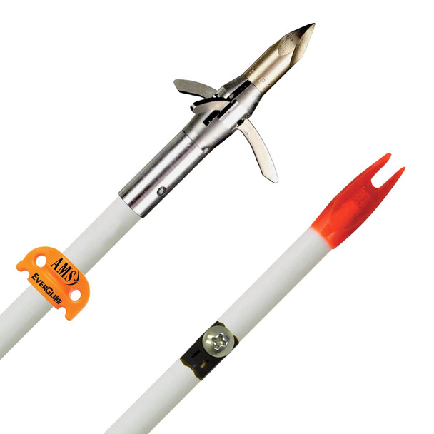 AMS BOWFISHING AnKor QT Point Fiberglass Arrow with White Shaft and EverGlide Safety Slide (A207-WHT)