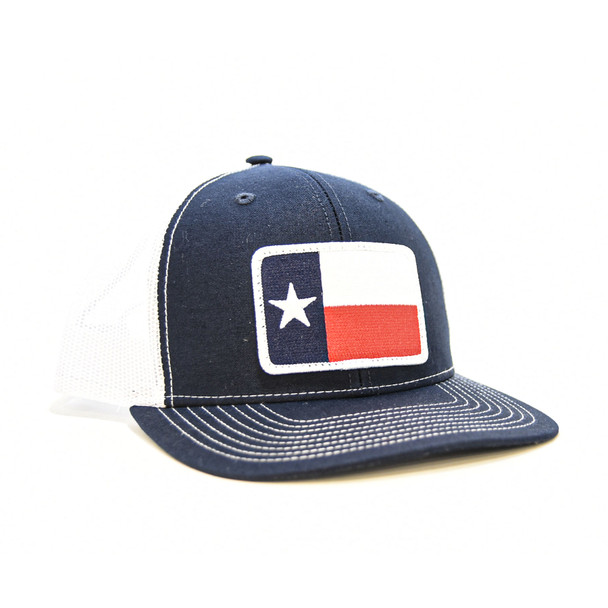 WEBY Richardson Sports Hats Unisex Navy and White Trucker Cap with Texas Flag, OSFA (HAT-112-NVY-WHT-TX)
