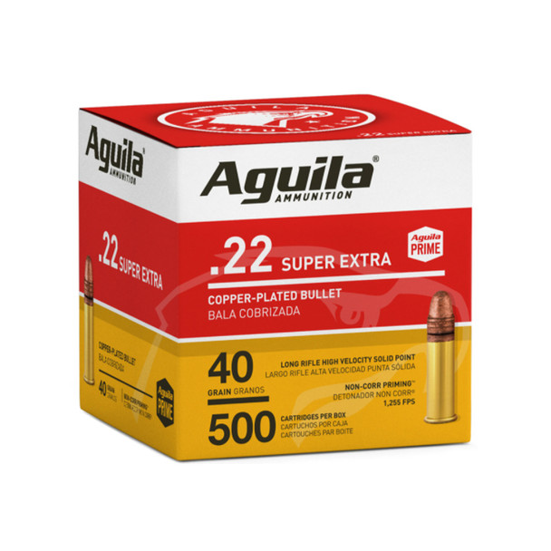 AGUILA .22 LR 40Gr Copper-Plated Solid Point 500rd Box Ammo (1B221115)