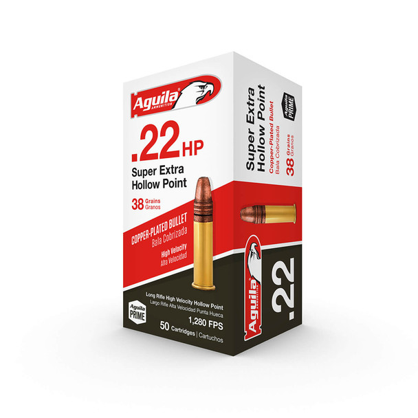 AGUILA .22 LR 38Gr Copper-Plated Hollow Point 50rd Box Ammo (1B222335)