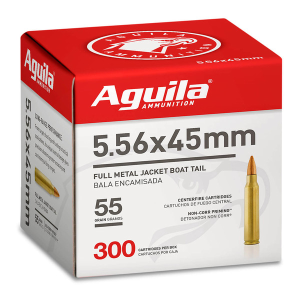 AGUILA 5.56x45mm NATO 55Gr FMJBT 300rd Box Rifle Ammo (1E556126)