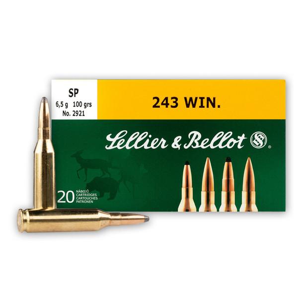 SELLIER & BELLOT 243 Win. 100 Grain SP Ammo, 20 Round Box (SB243A)