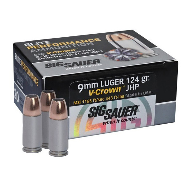 SIG SAUER Elite V-Comp 9mm 124 Grain JHP Ammo, 20 Round Box (E9MMA2)