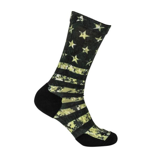 5.11 TACTICAL Sock And Awe American Flag OD Green Crew Sock (10041AM-999)