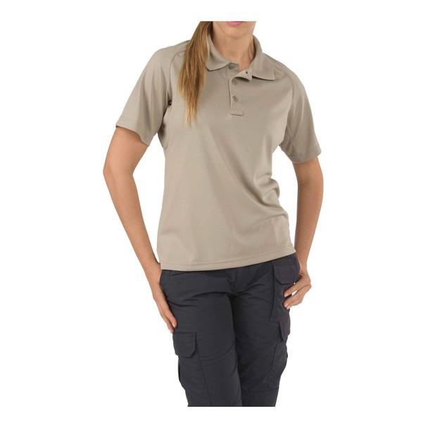 5.11 TACTICAL Womens Performance Short Sleeve Polo Silver Tan Shirt (61165-160-S)