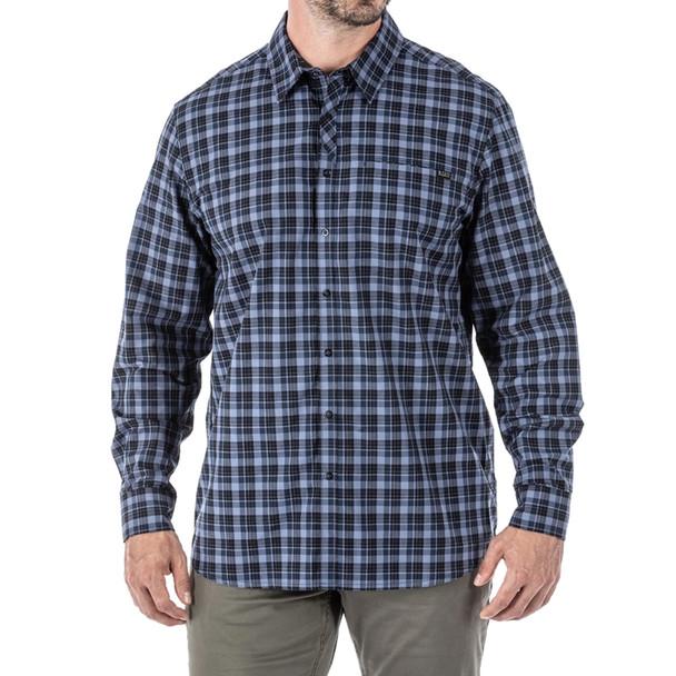 5.11 TACTICAL Men's Echo L/S Peacoat Plaid Shirt (72494-810)