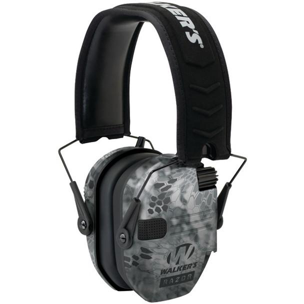 WALKERS GAME EAR Razor Series Slim Shooter Electronic Kryptek Camo Folding Muff (GWP-RSEM-KPT)