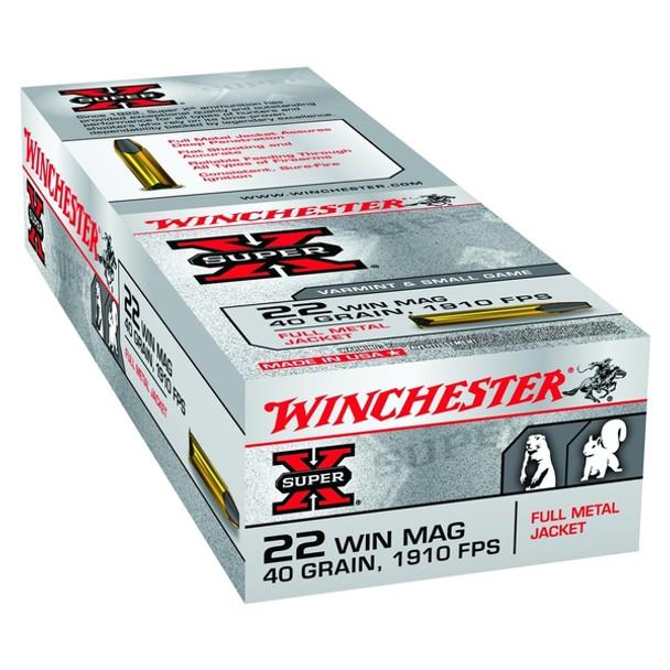 WINCHESTER Super-X 40gr Full Metal Jacket 50rd 22 WMR Ammunition (X22M)