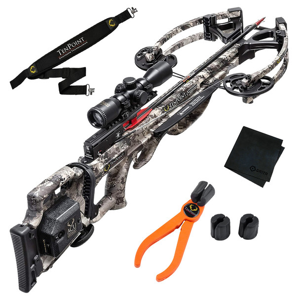 TENPOINT Titan M1 Rope-Sled/Pro-View Scope TrueTimber Viper Crossbow Package with Neoprene Sling, Arrow Puller and Microfiber Cleaning Cloth (TITM1RS+SLING+PULLER+GRITMF)