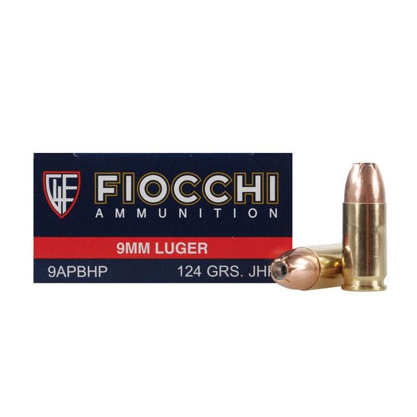 FIOCCHI 9mm Luger 124 Grain JHP Ammo, 50 Round Box (9APBHP)