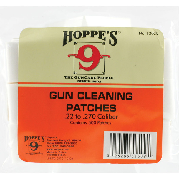 HOPPE'S 500-Pack .22 and .270 Caliber Gun Cleaning Patches (1202S)