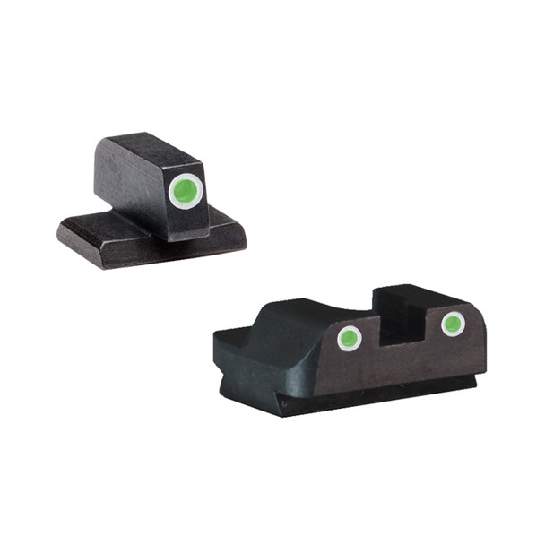 AMERIGLO FN Classic 3 Dot Green with White Outline Front and Rear Iron Sights (FN-605)