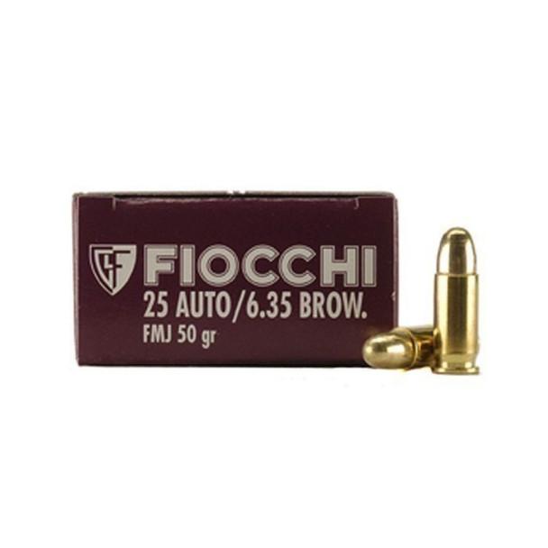 FIOCCHI 25 ACP 50 Grain FMJ Ammo, 50 Round Box (25AP)