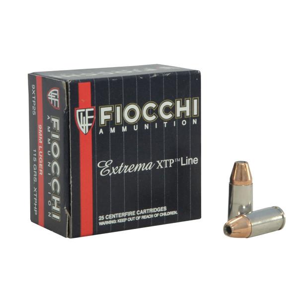 FIOCCHI 9mm Luger 115 Grain XTPHP Ammo, 25 Round Box (9XTP25)