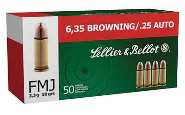 SELLIER & BELLOT 25 ACP 50Gr Full Metal Jacket Handgun Ammo (SB25A)