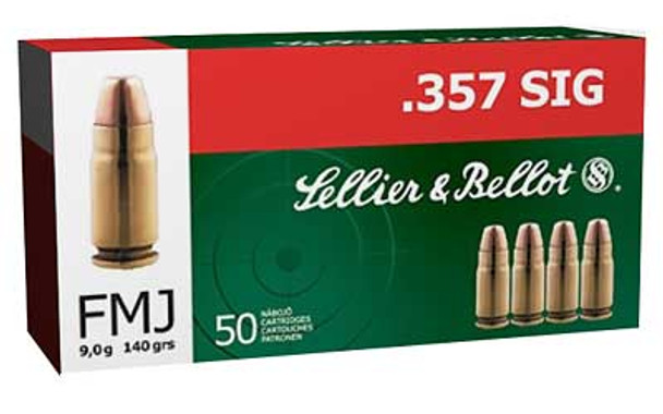 SELLIER & BELLOT 357 SIG 140 Grain FMJ Ammo, 50 Round Box (SB357SIG)