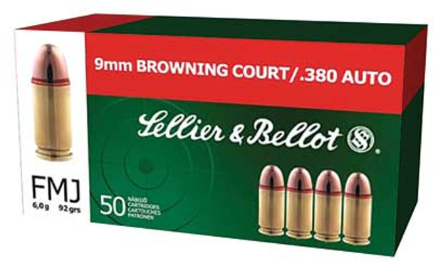 SELLIER & BELLOT 380 ACP 92 Grain FMJ Ammo, 50 Round Box (SB380A)