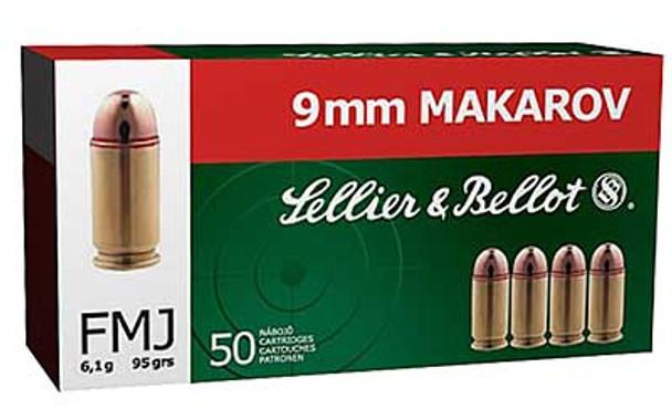 SELLIER & BELLOT 9mm Makarov 95 Grain FMJ Ammo, 50 Round Box (SB9MAK)