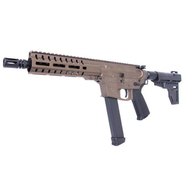 "CMMG MkG-9 Guard 9mm 8in 33rd Burnt Bronze Pistol (99A51CE) Semi-automatic, 9MM, 8"" Barrel, 1/2x28, Aluminum Frame, Burnt Bronze Finish, KAK Shockwave Pistol Brace, 33Rd, CMMG RML 7"" MLOK Handguard, Magpul Pistol Grip, 1 Magazine"
