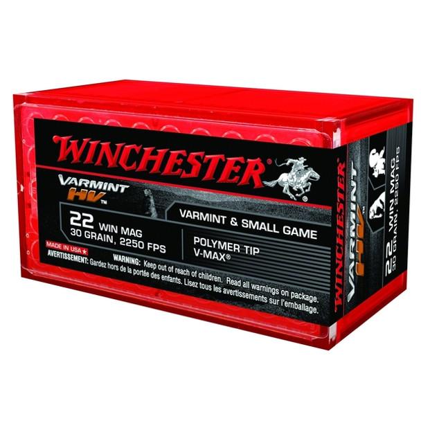 WINCHESTER Varmint 30gr V-Max 50rd HV Rimfire 22 WMR Ammunition (S22M2PT)