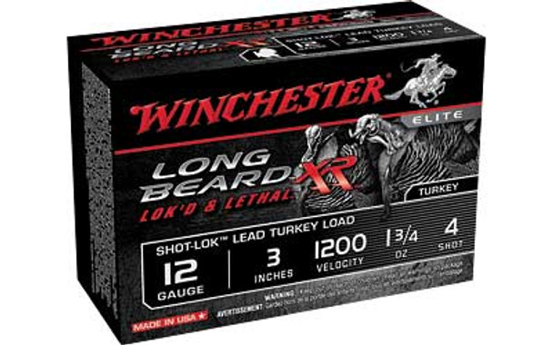 WINCHESTER Long Beard XR Shot-Lok 12Ga 3in #4 Shotshell Ammo 10 Round Box (STLB1234)